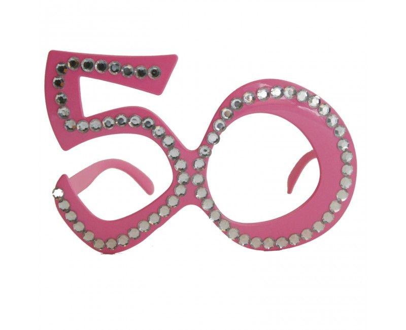 Bril 50 jaar roze diamantframe