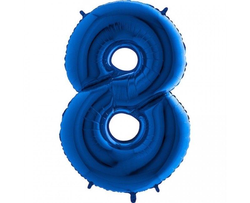 Folieballon cijfers 100cm blauw 8