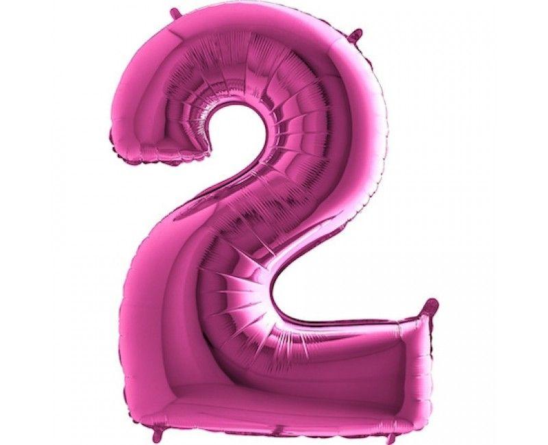 Folieballon cijfers 100cm roze 2