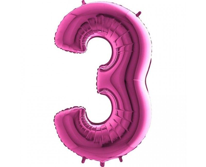 Folieballon cijfers 100cm roze 3