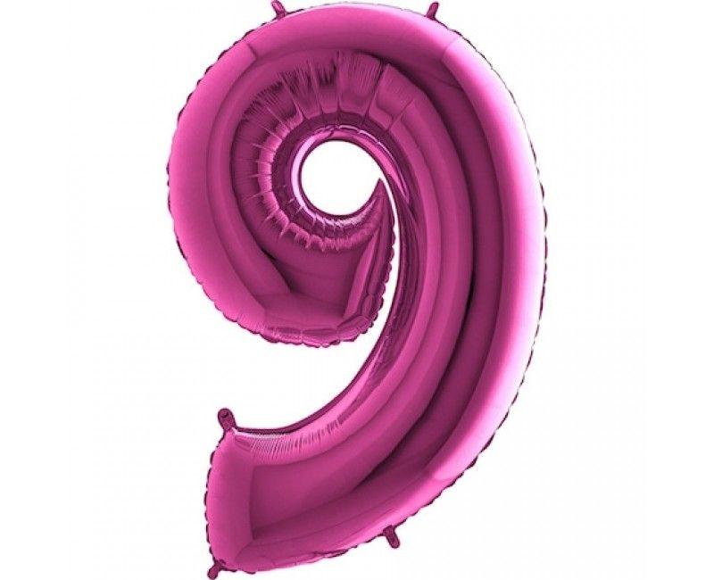 Folieballon cijfers 100cm roze 9