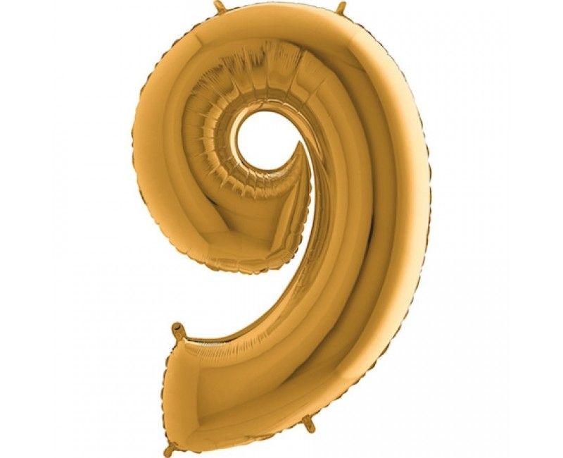 Folieballon cijfers 100cm goud 9