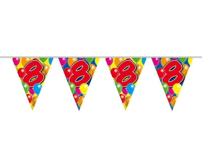 Vlaggenlijn slinger ballonnen 8 jaar, lengte 10 meter