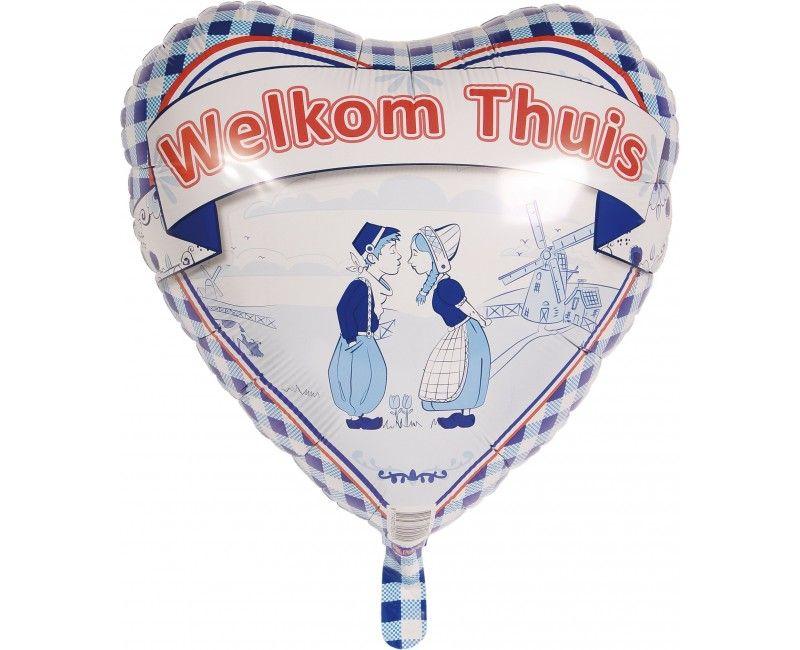 "Folieballon Delfts blauw ""Welkom thuis"""