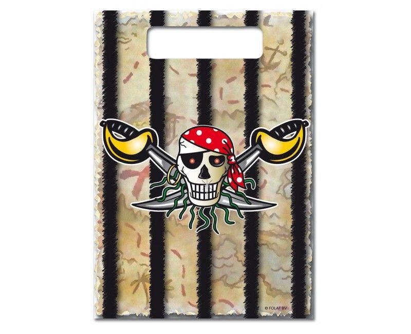 Uitdeelzakjes Rode Piraat, 8 stuks