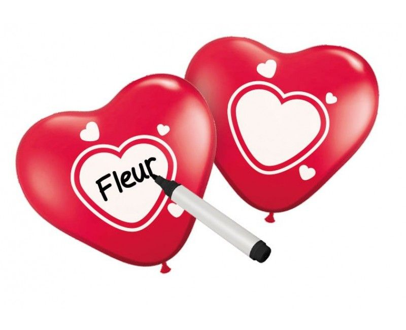 Schrijfballonnen hart rood
