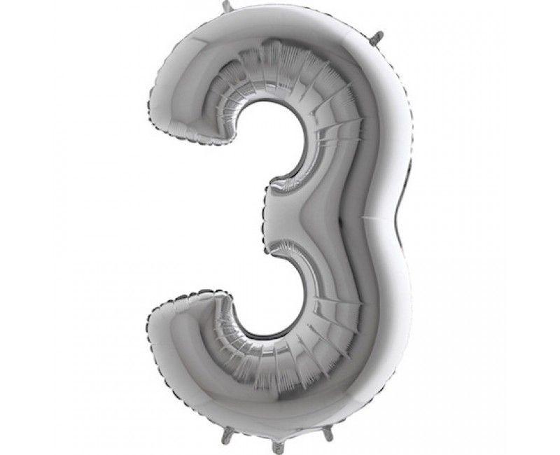 Folieballon cijfers 100cm zilver 3