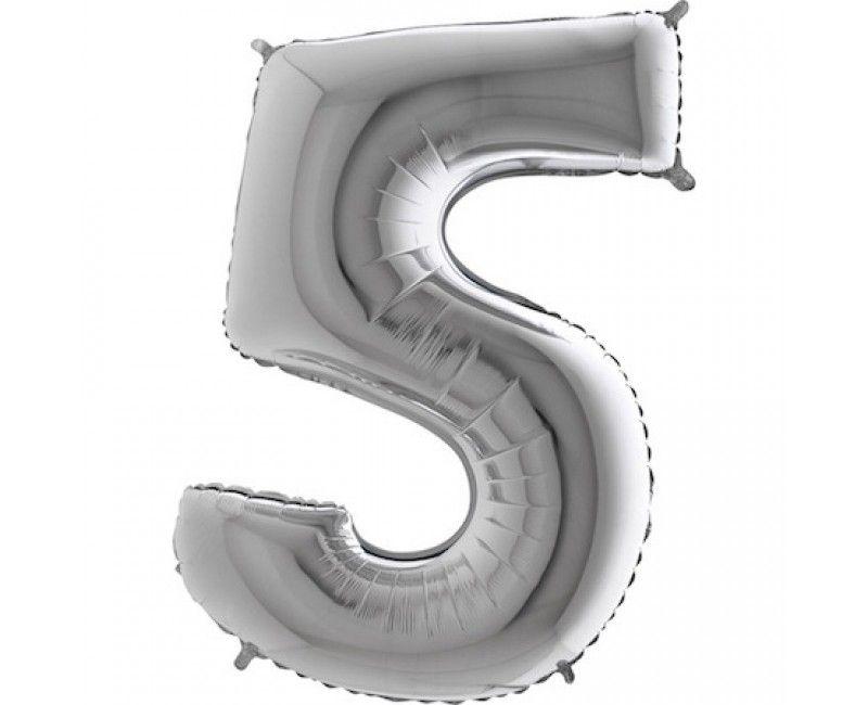 Folieballon cijfers 100cm zilver 5
