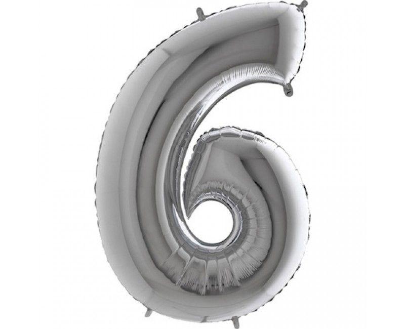 Folieballon cijfers 100cm zilver 6