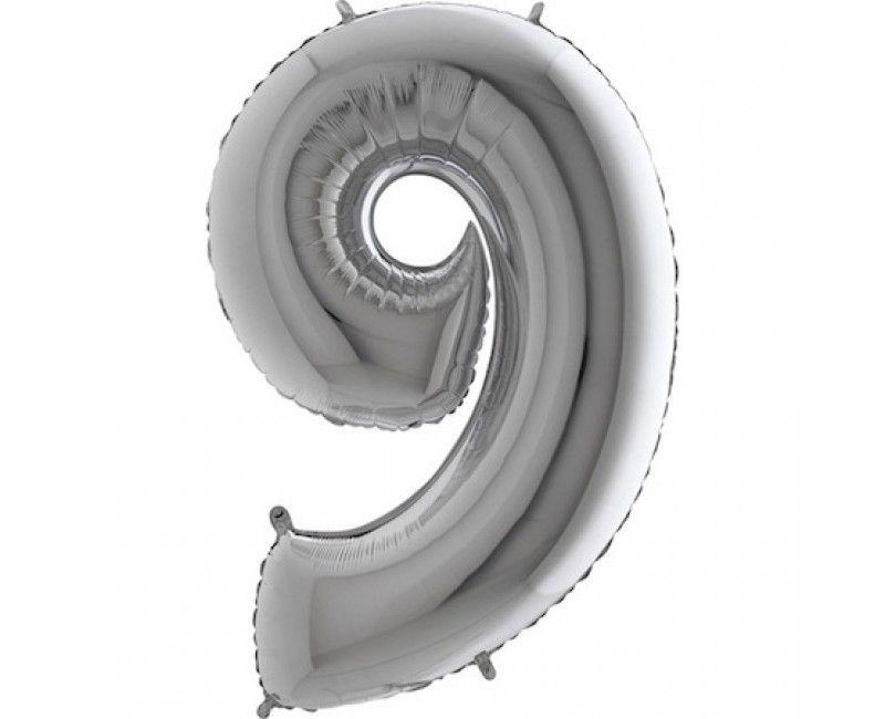 Folieballon cijfers 100cm zilver 9