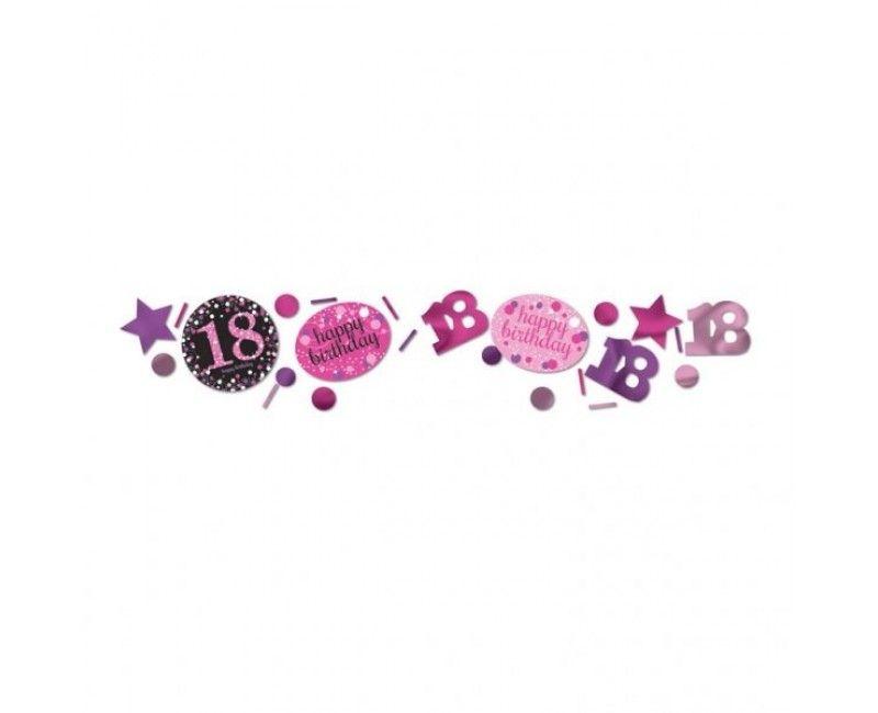 Tafelconfetti sparkling Happy Birthday pink 18 jaar