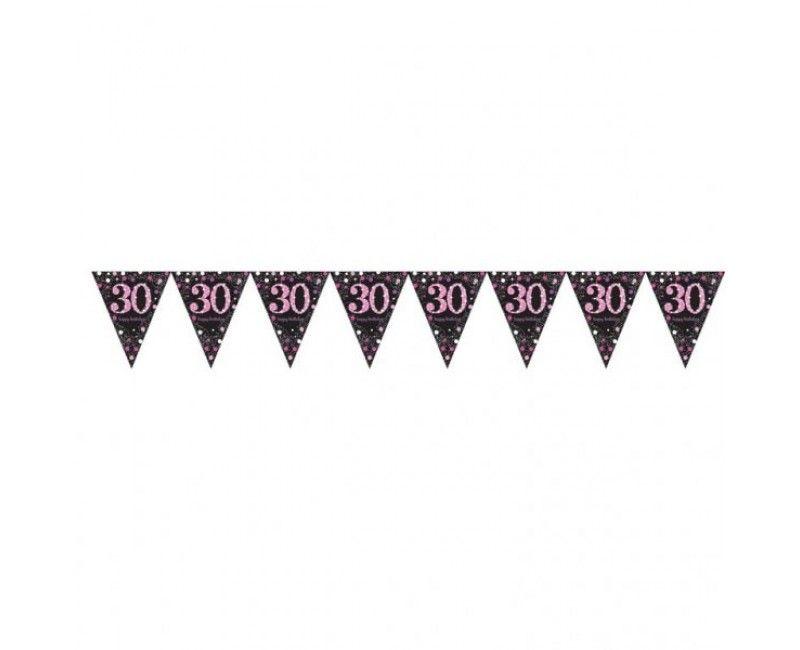 Vlaggenlijn sparkling Happy Birthday pink 30 jaar