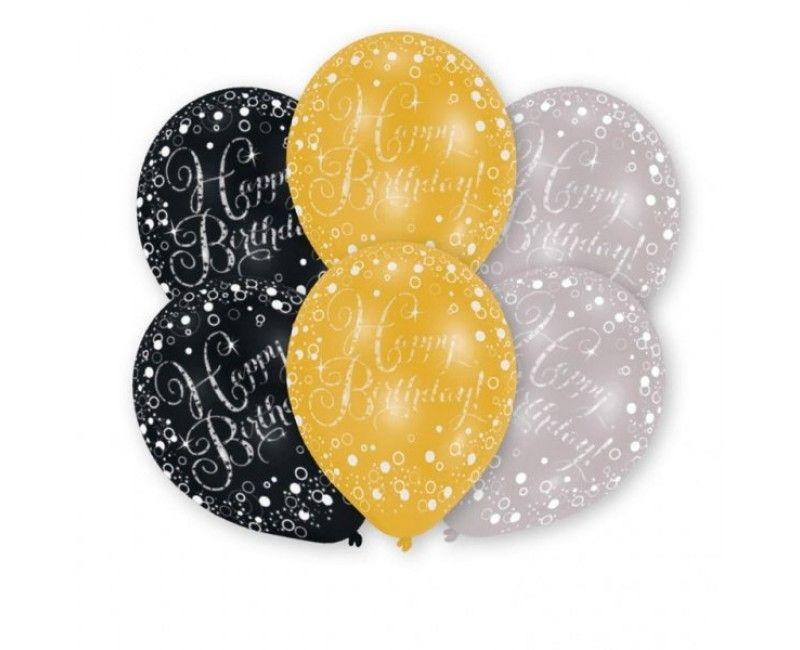 Ballonnen sparkling Happy Birthday goud, 6 stuks