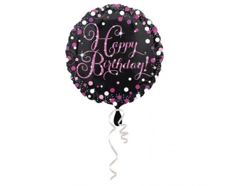 Folieballon sparkling Happy Birthday pink