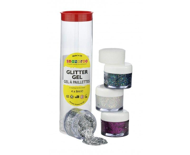 Snazaroo glittergel 4 kleuren met aanbrengsponsje