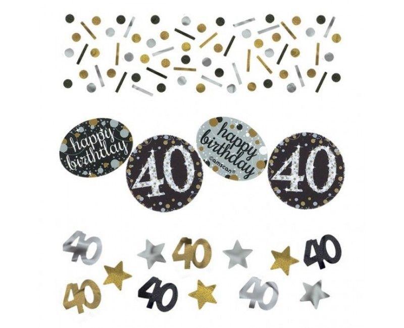 Tafelconfetti sparkling Happy Birthday goud 40 jaar