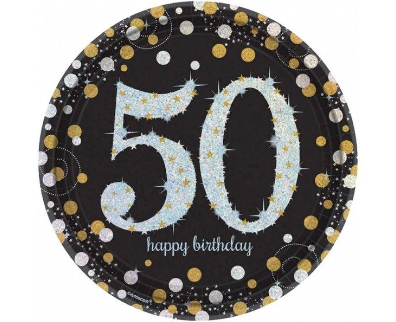 Borden sparkling Happy Birthday goud 50 jaar, 8 stuks
