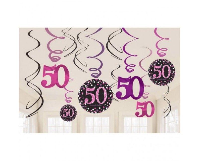 Hangdecoratie sparkling Happy Birthday pink 50 jaar