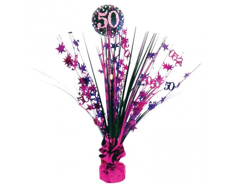 Tafelstandaard sparkling Happy Birthday pink 50 jaar