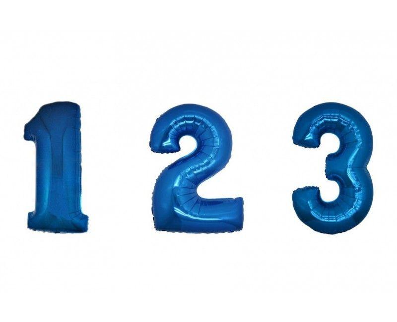 Folieballon cijfers 100cm blauw
