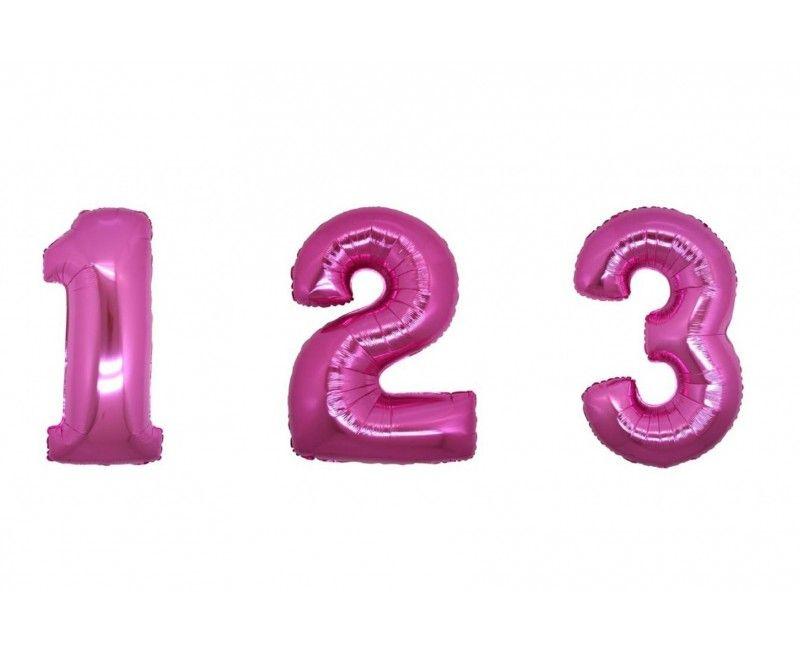 Folieballon cijfers 35cm roze