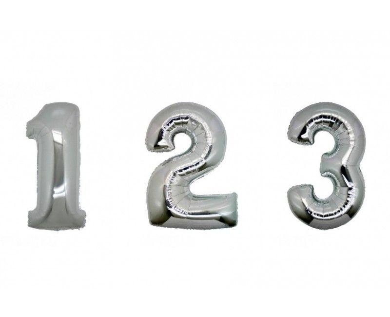 Folieballon cijfers 35cm zilver