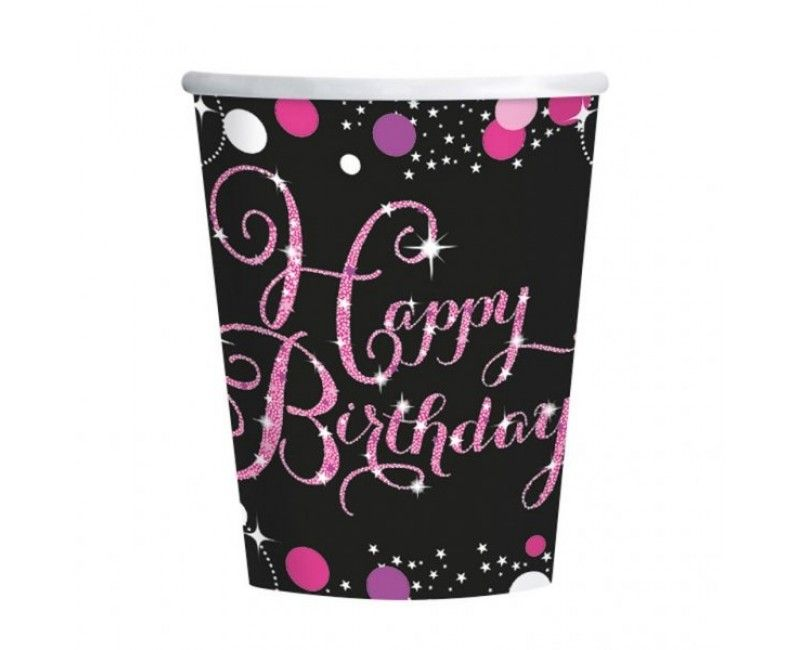 Bekers sparkling Happy Birthday pink, 8 stuks