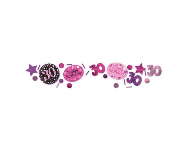Tafelconfetti sparkling Happy Birthday pink 30 jaar
