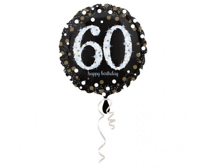 Folieballon sparkling Happy Birthday goud 60 jaar