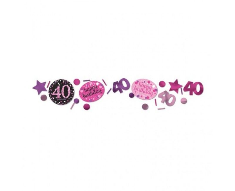 Tafelconfetti sparkling Happy Birthday pink 40 jaar