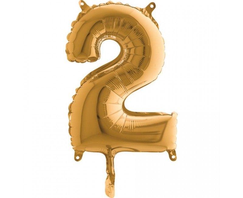 Folieballon 35cm goud cijfer 2