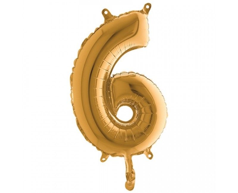 Folieballon 35cm goud cijfer 6