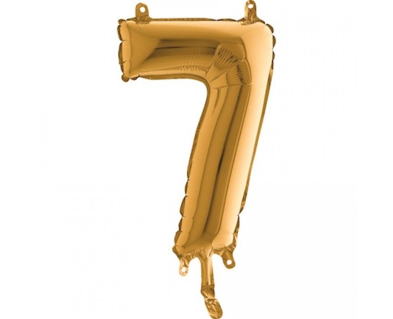 Folieballon 35cm goud cijfer 7