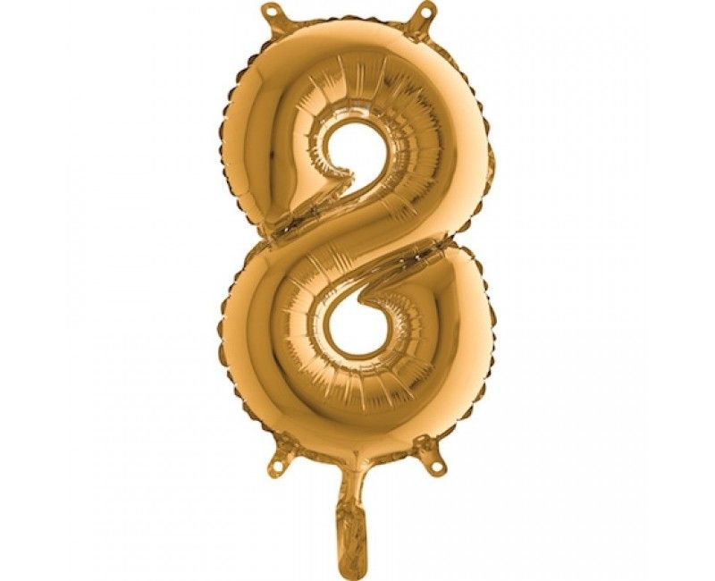 Folieballon 35cm goud cijfer 8