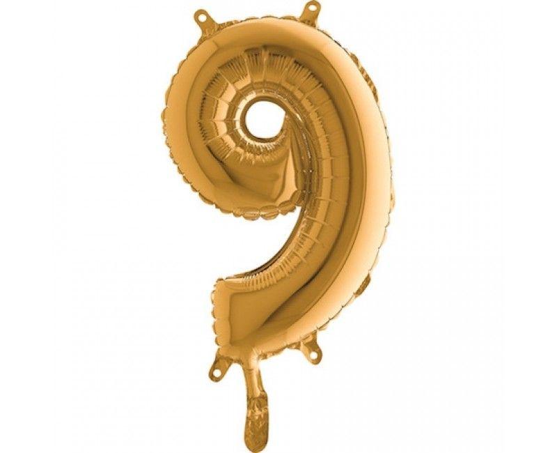 Folieballon 35cm goud cijfer 9