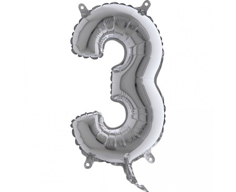 Folieballon 35cm zilver cijfer 3