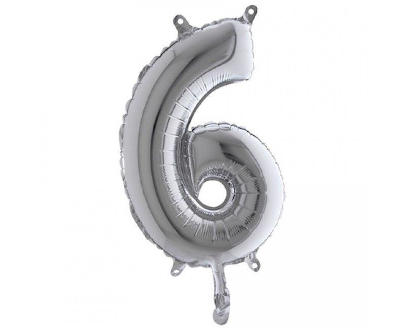 Folieballon 35cm zilver cijfer 6