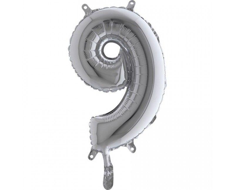 Folieballon 35cm zilver cijfer 9
