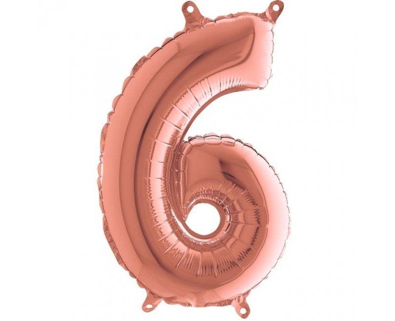 Folieballon 35cm rose gold cijfer 6