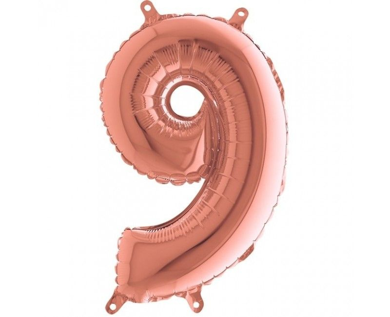 Folieballon 35cm rose gold cijfer 9