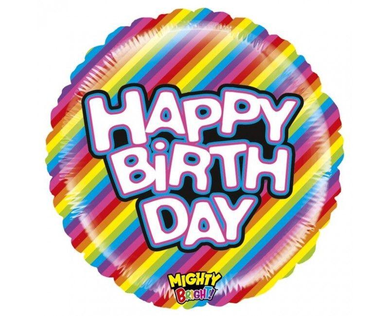 Folieballon 53cm Happy Birthday mighty bright stripes