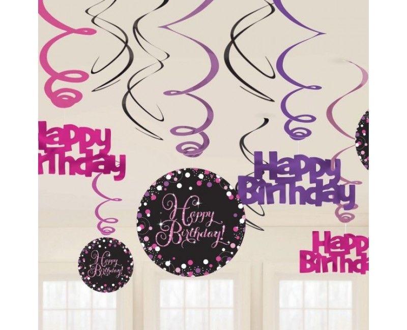 Hangdecoratie sparkling Happy Birthday pink