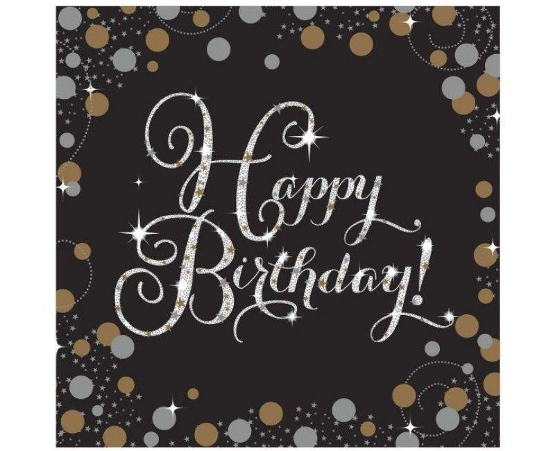 Servetten sparkling Happy Birthday goud, 16 stuks