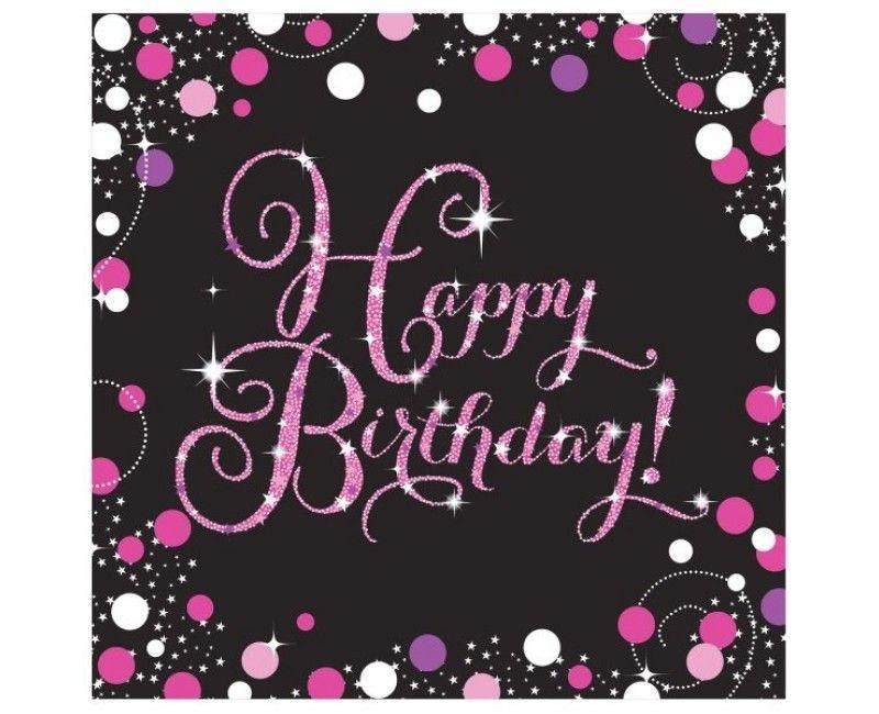Servetten sparkling Happy Birthday pink, 16 stuks