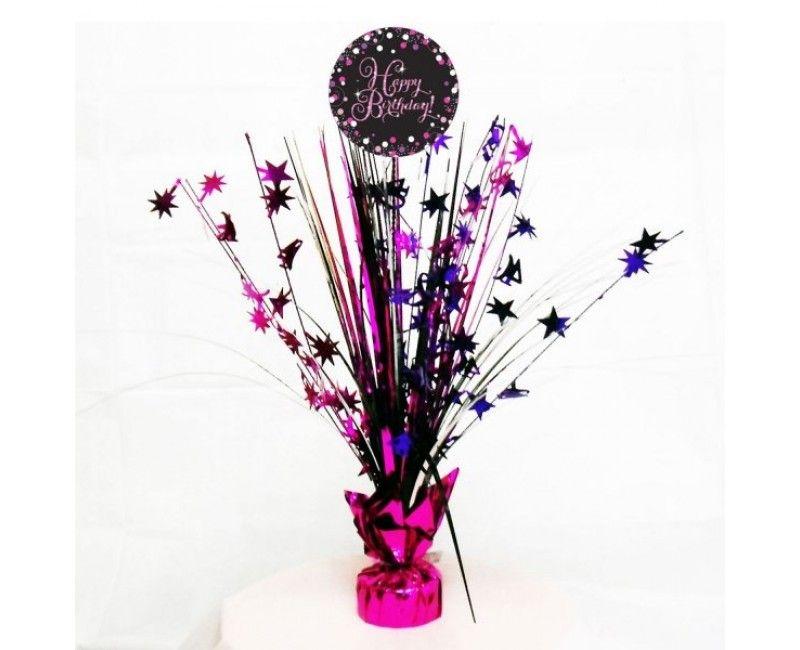 Tafelstandaard sparkling Happy Birthday pink