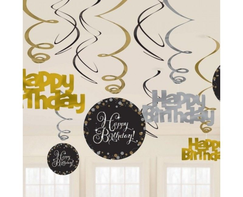 Hangdecoratie sparkling Happy Birthday zwart zilver