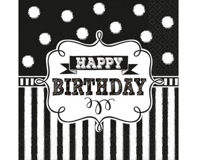 Servetten happy birthday black & white