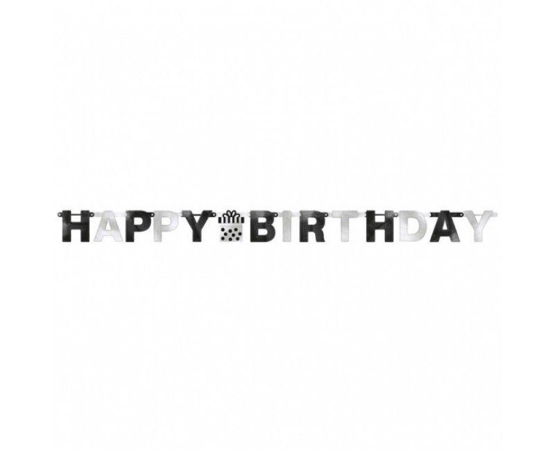 Letterslinger happy birthday black & white
