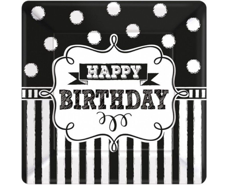 Borden happy birthday black & white 25 x 25cm