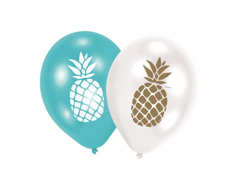 Ballonnen 30cm Ananas stijl, 6 stuks